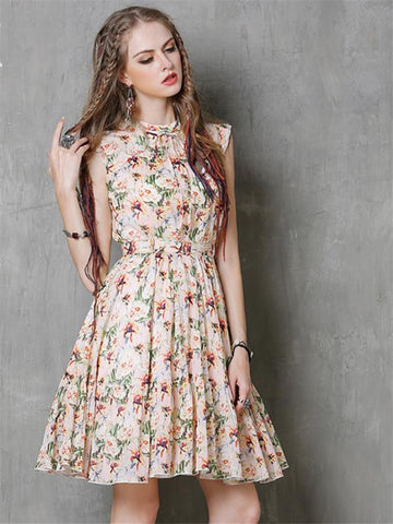 Cotton Linen Flower Print Slim Belted Sleeveless Boho Dresses
