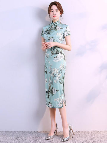 Fresh Flower Printed Cheongsam Dress