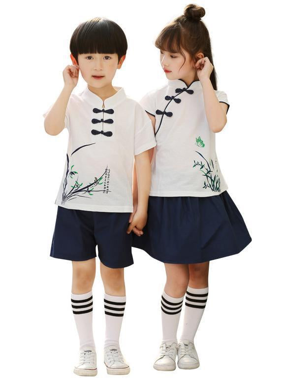 Traditional Boy and Girl Tang Suits Combo in White or Pink Color