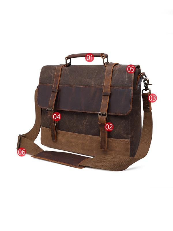 15.6-inch canvas bag horse cowhide briefcase retro bag
