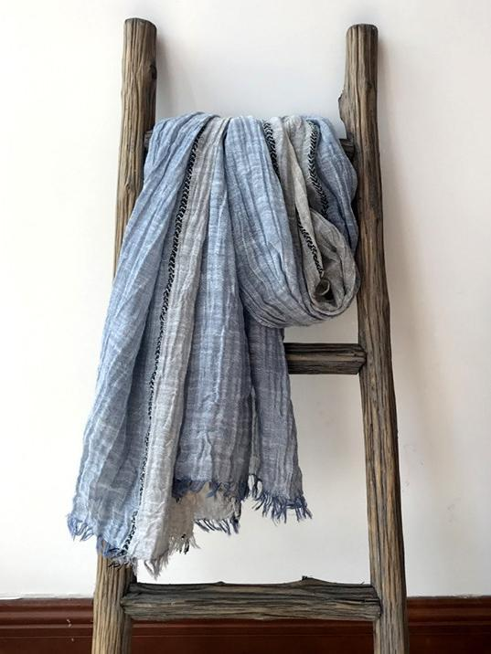 Ramie Cotton Split-joint Tasseled Scarf