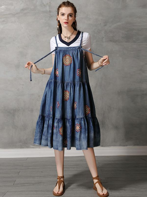 Vintage Denim Embroidery Braces Dress