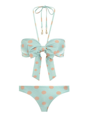 Retro Polka-Dot Bandge One-Piece Swimsuit