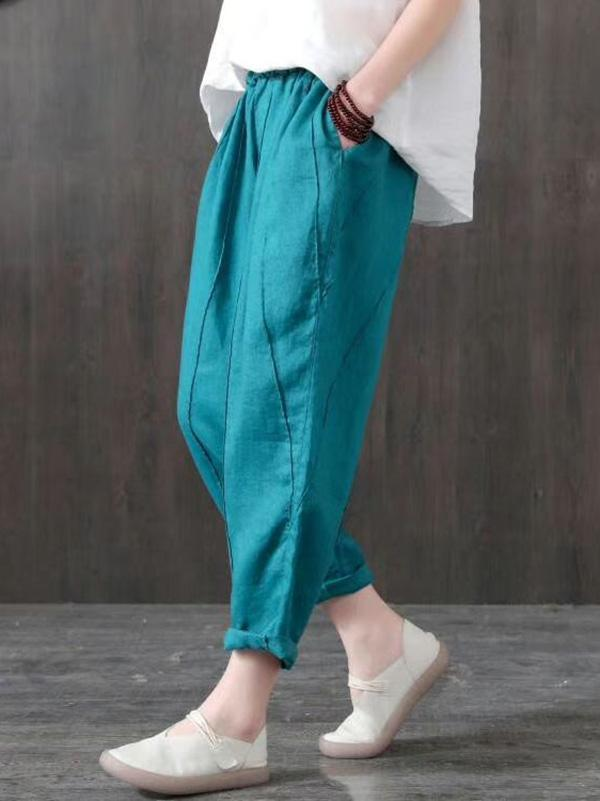Vintage Loose Solid Harem Pants