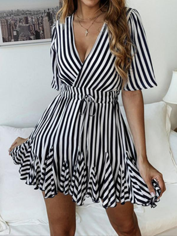 Striped Short Sleeves Mini Dresses