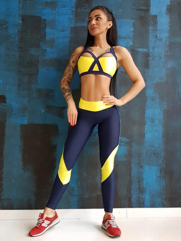 Two Tone Gym Bra And Leggings Suits