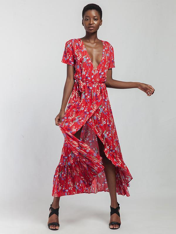 V-neck Floral Cut Irregular Hem Maxi Dress