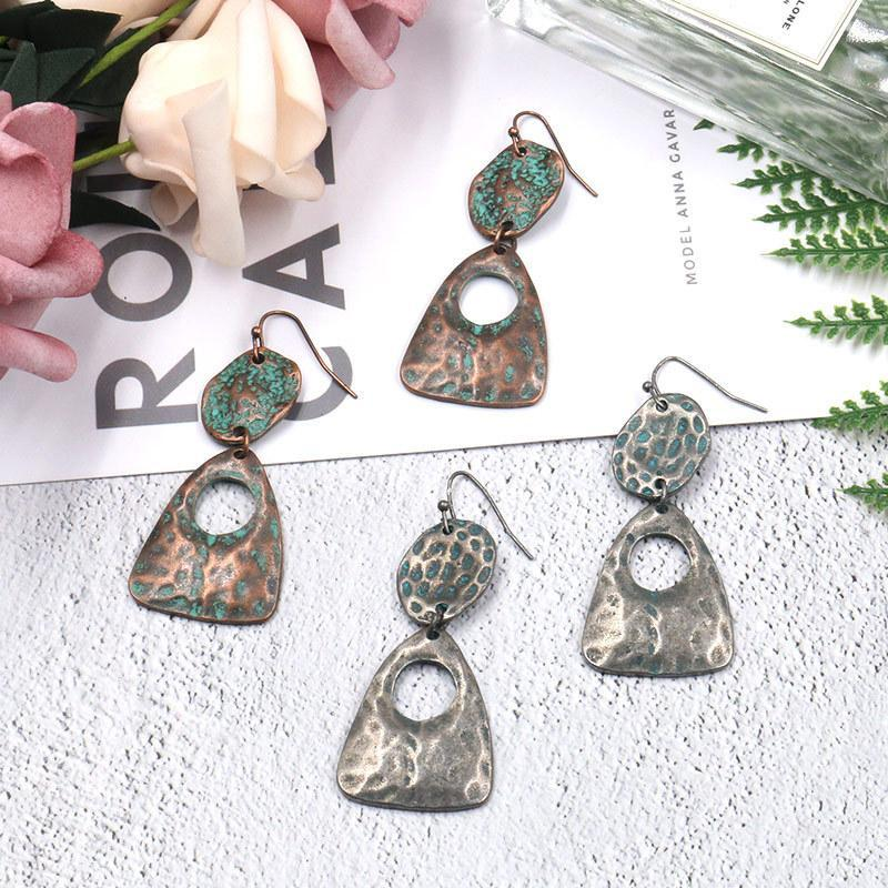 2 Style Fashion retro geometric long vintage alloy earrings