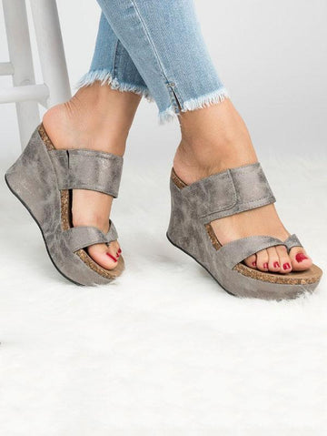 Simple Wedge Heel Slipper Sandals Shoes