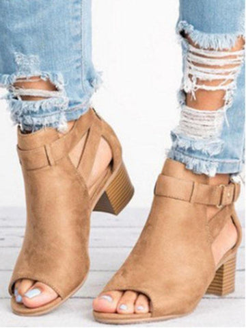 Fashion Open-toe Mid-heel Sandals Shoes