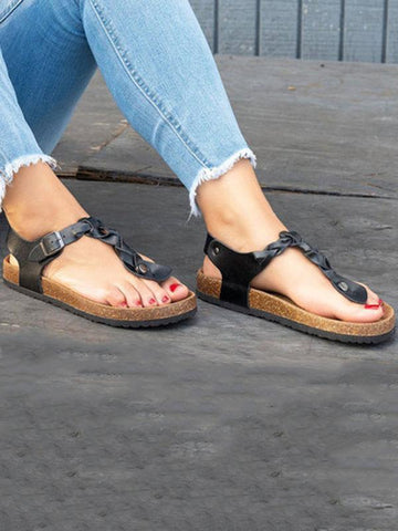 Casual Solid Toe Low-heel Sandal Shoes