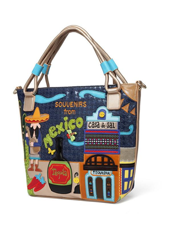 Retro hand-embroidered tide creative embroidery bag