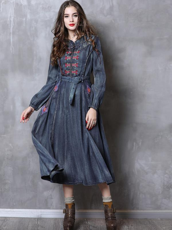Autumn Boho Vintage Embroidery Belt Dresses O-Neck Lantern Sleeve
