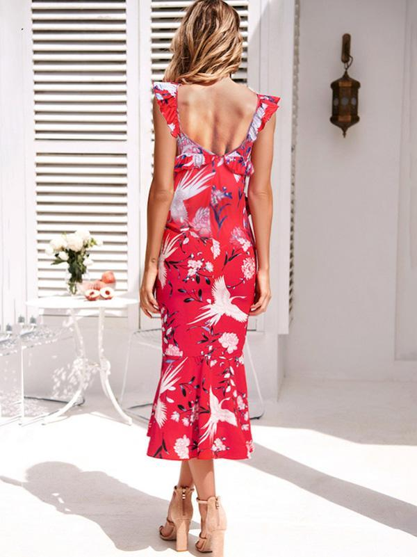 V-neck Floral Printed Chic Midi Dress