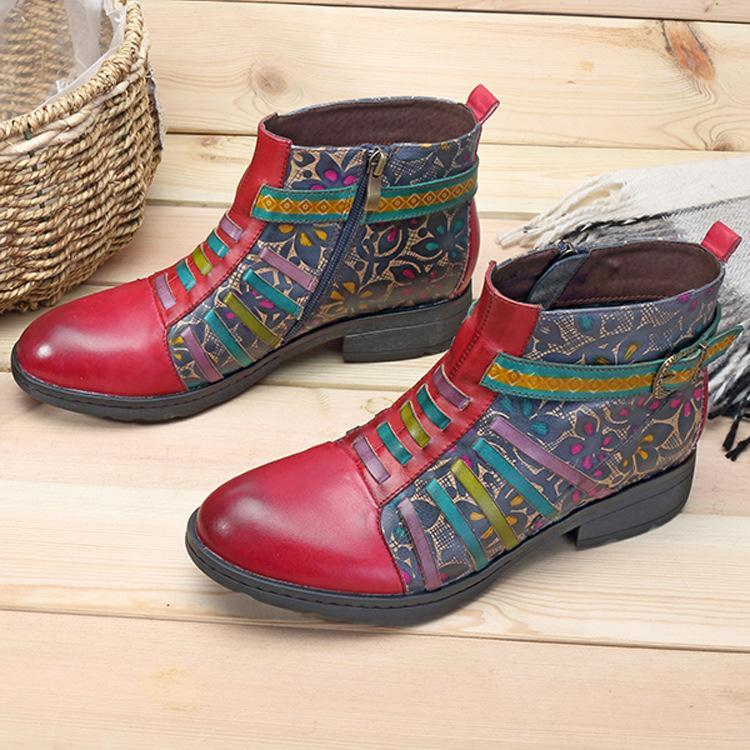 Red Casual vintage ethnic style leather boots