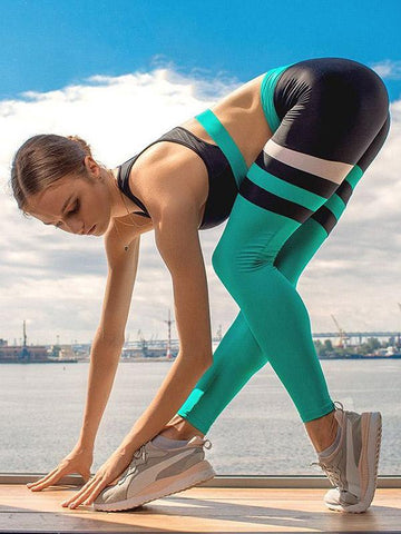 Quick-dry Elasticity Striped Sports Bra&Leggings Suits