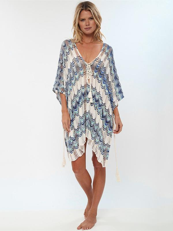 Vacation Contrast Color Bandage Cover-ups Swimwear