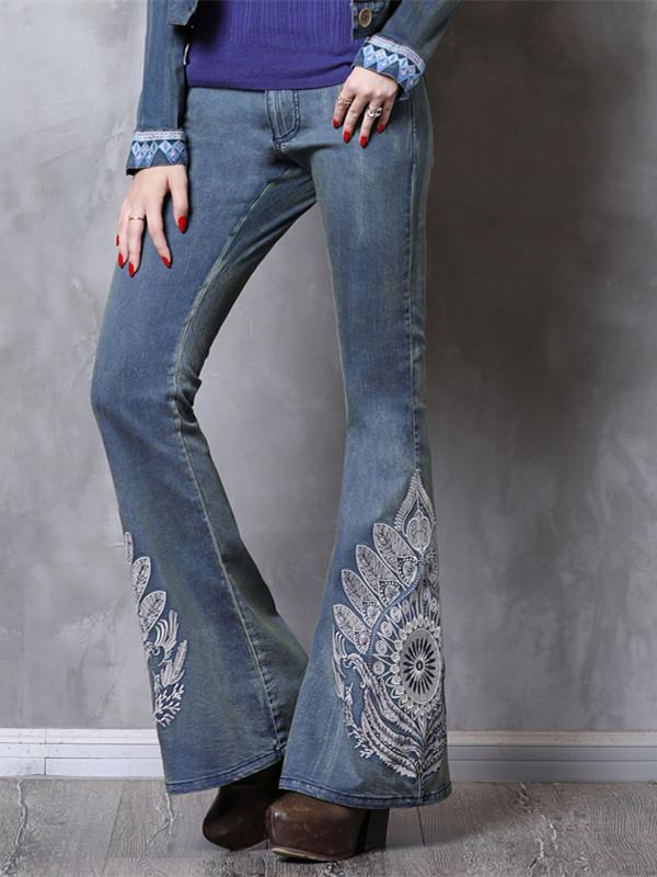 Vintage Fashion Denim Trousers Flare Pants Boho Floral Embroidery Denning Jeans