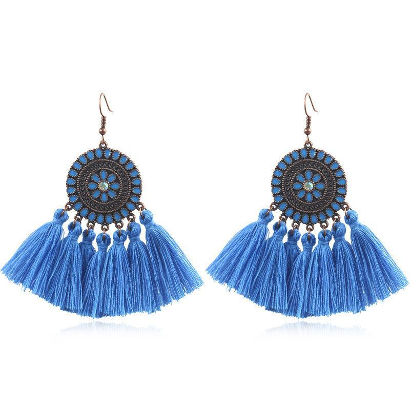 Fashion exaggerated tassel round bohemian vintage alloy earrings