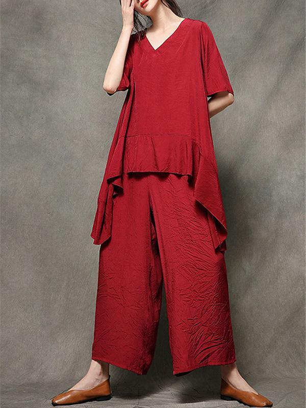 2019 Summer New Loose Oversize Wide Leg Pants Suit