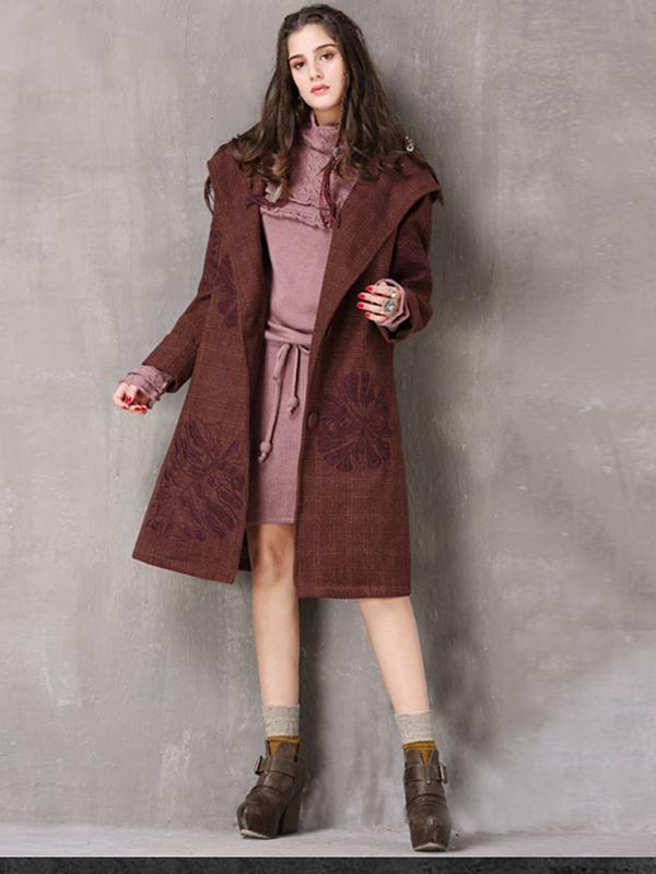 Vintage Thicken Wool Blends Hooded Long Sleeve Plaid Embroidery Coats