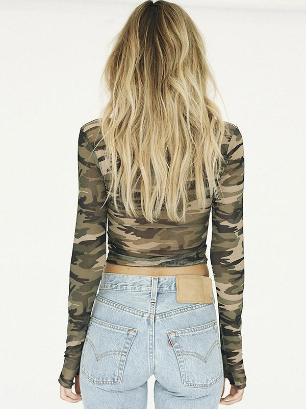 Sexy  Camouflage Long Sleeves T-shirt