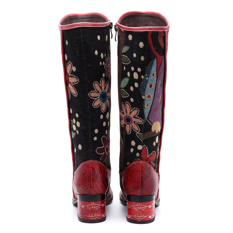 Casual vintage ethnic leather knee boots