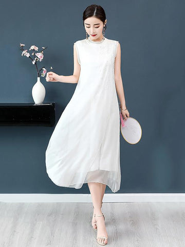 Chiffon Embroidery Vest Dress
