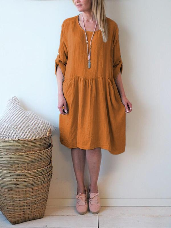 Simple 5 Colors Plus Size Short Sleeves Loose Midi Dress