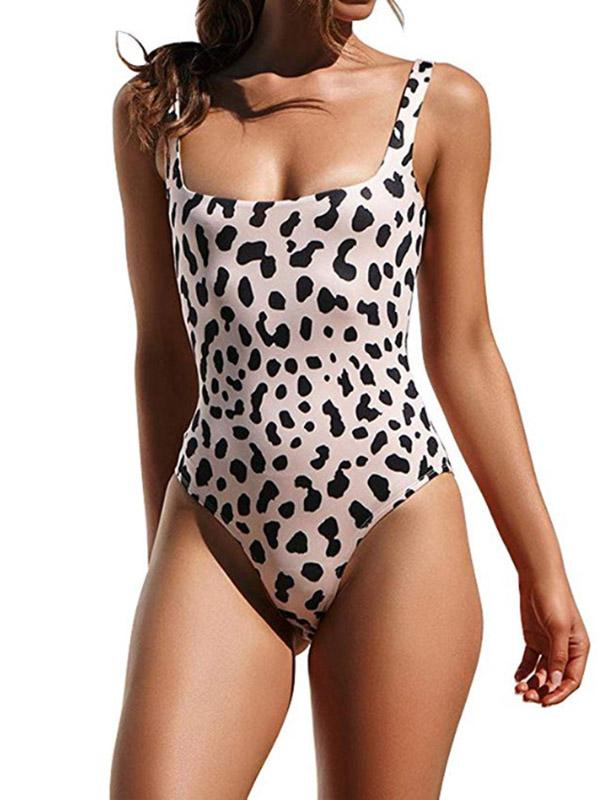 Sexy Leopard Print Spaghetti-Neck One-Piece Swimwear