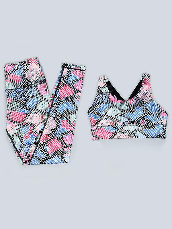 Tight Colored Serpentine Moisture Absorption Yoga&Gym Suits