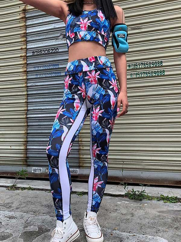 Printed Tank And Fitness Legging Suits
