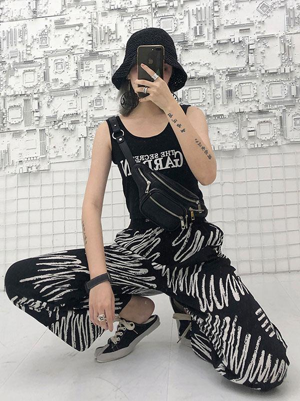 Elastic Waist Design Printed Wide Leg Pants