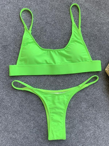 Sexy Solid Color Spaghetti-Neck Split Bikini Swimsuit