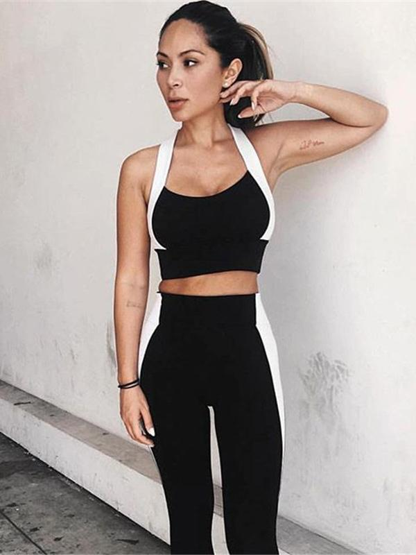 Yoga Split-joint Padded Bra And Leggings Suits