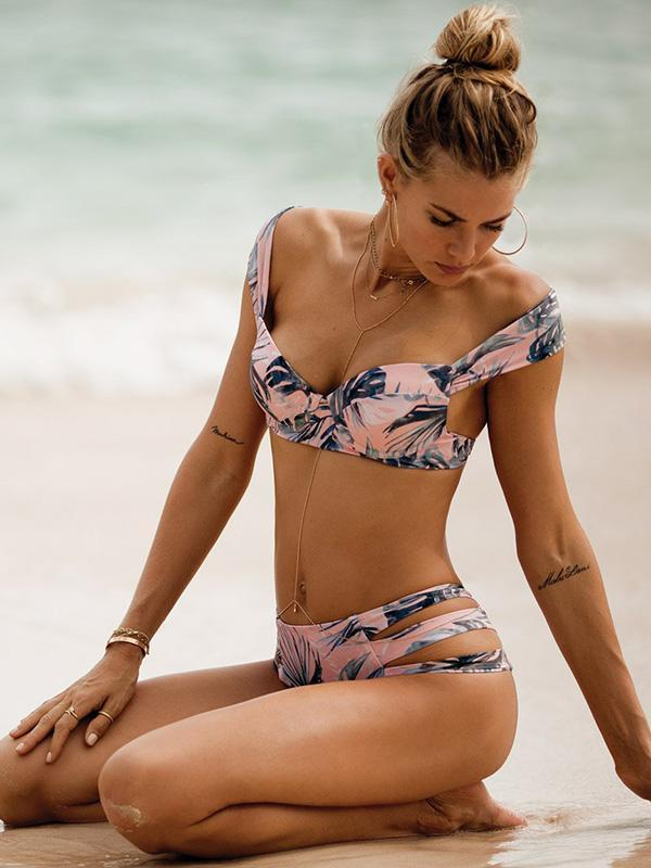Sweet Leaves Printed Bikini Swimwear