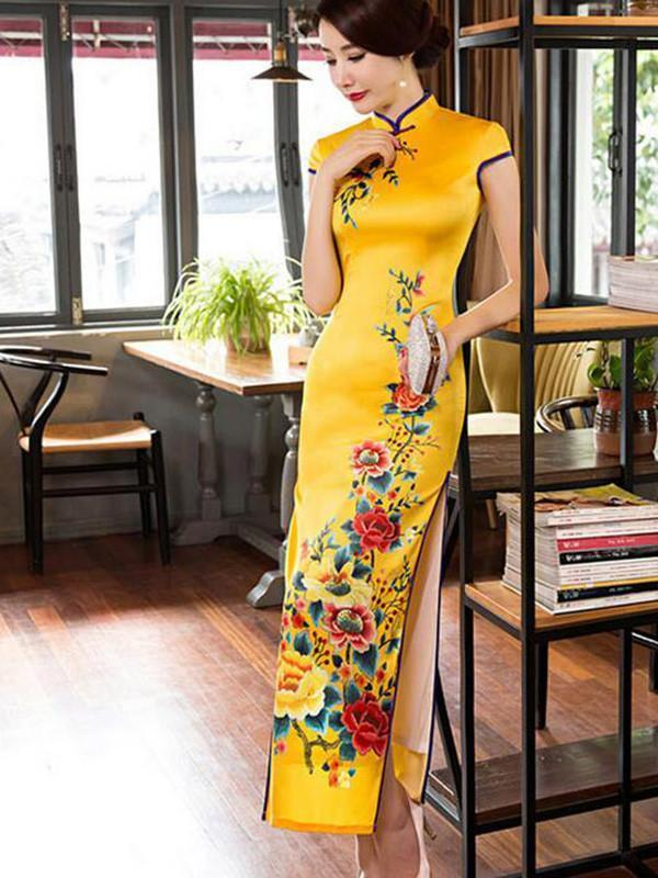 Yellow&Red Side Split Long Cheongsam Dress