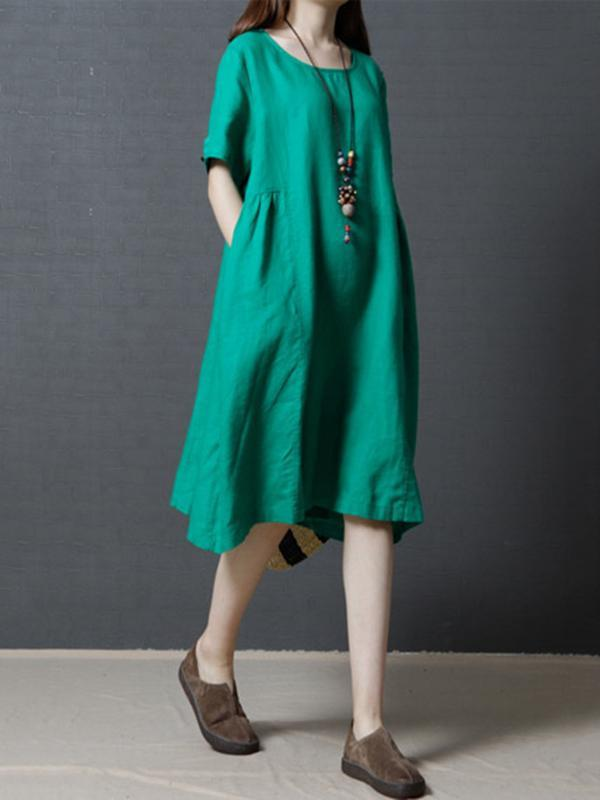 3 Solid Colors Fashionable Ramie Cotton Short Dress