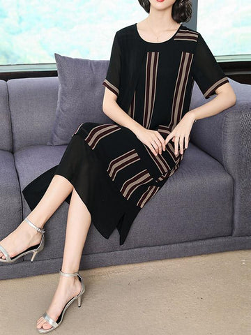 Chiffon Loose Split-joint Striped Dress