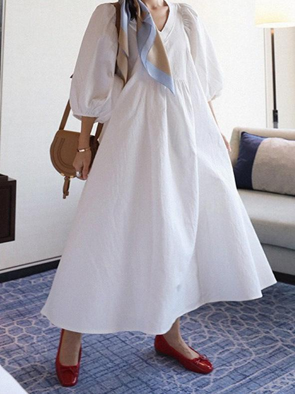 Simple V-neck Loose Plus Size Solid Maxi Dresses