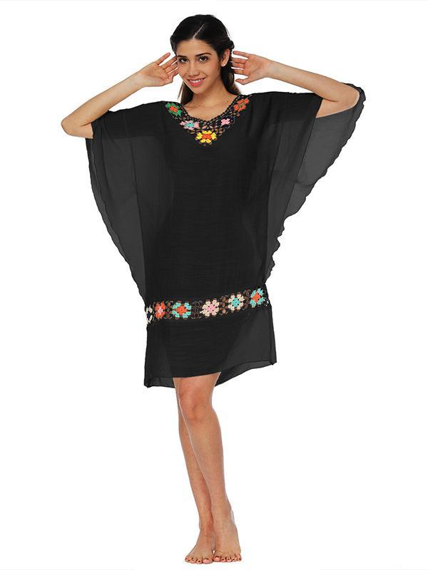 Falbala Batwing Sleeves Beach Cover-Up