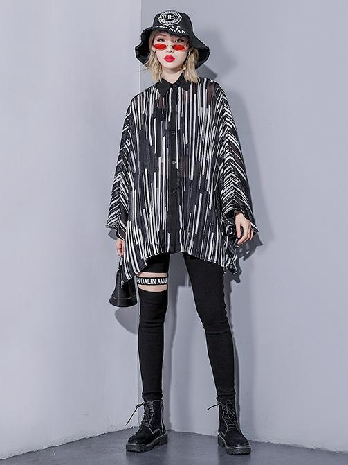 Stripes Loose Plus Size Batwing Sleeves Fashion Shirt Top