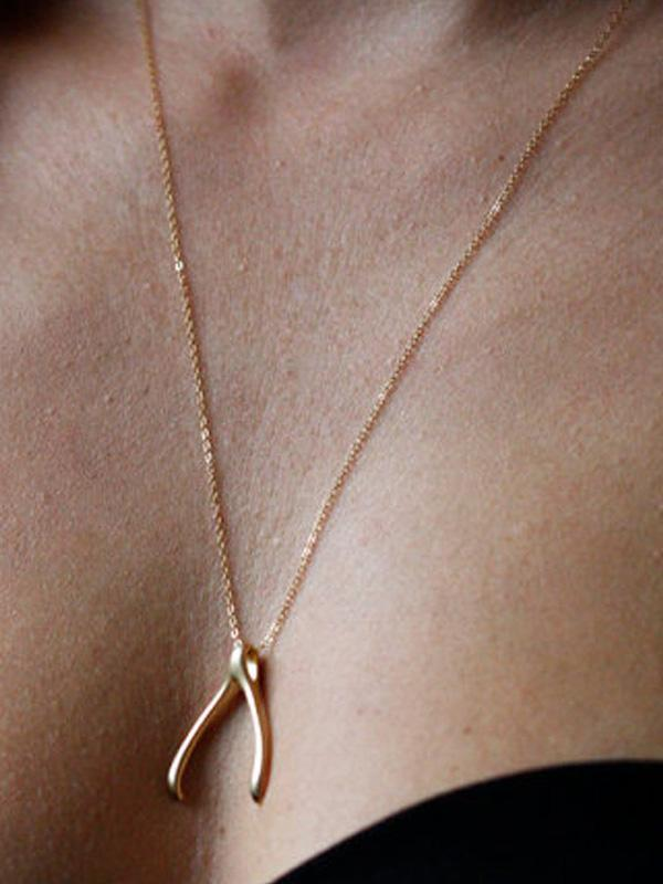 Simple Wishbone Fashion Necklace
