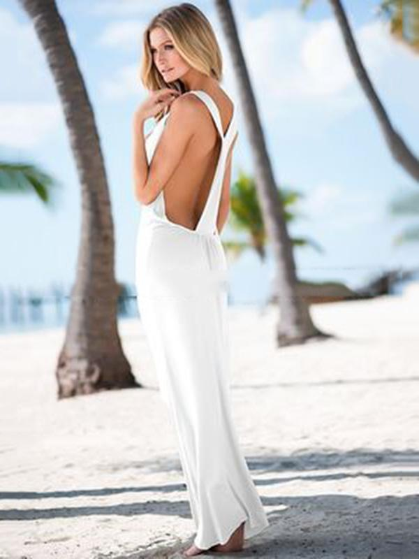 V-neck Solid Backless Beach Maxi Dresses