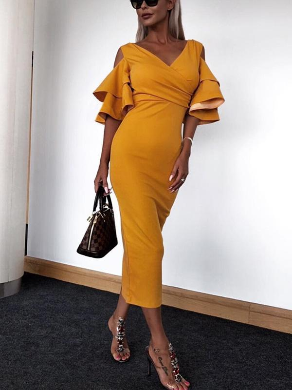 Simple 3 Colors V-neck Midi Dress