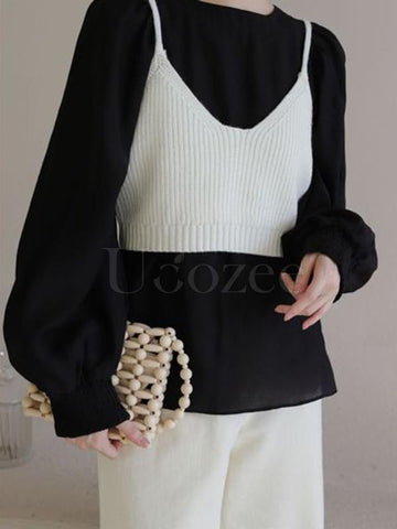 Casual Puff Sleeves Blouses