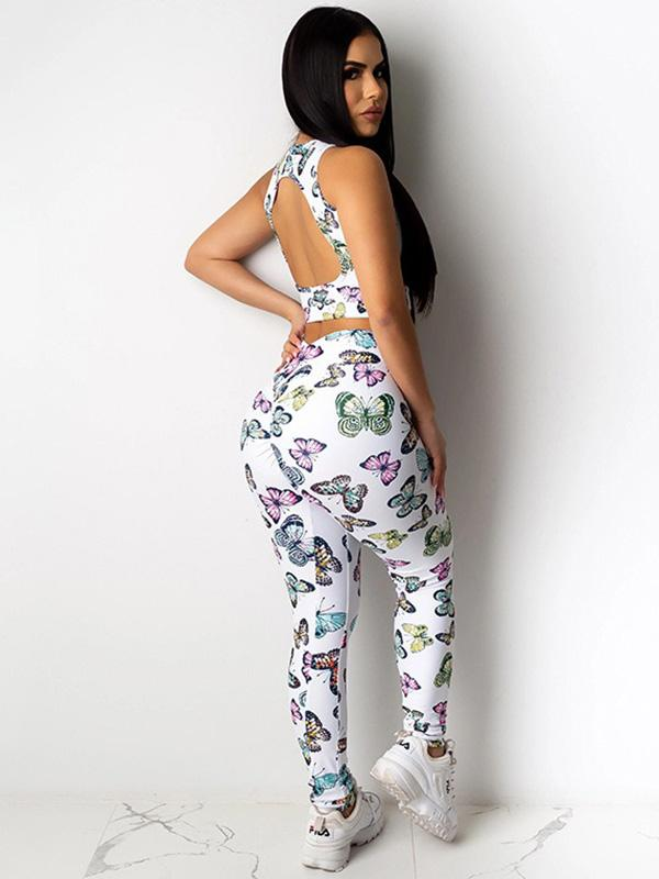 Sexy Printed Backless Yoga Suits