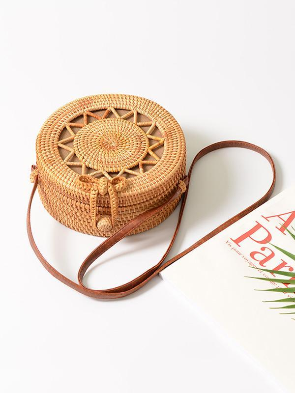 Hollow Bowknot Fresh Rattan Little Bag