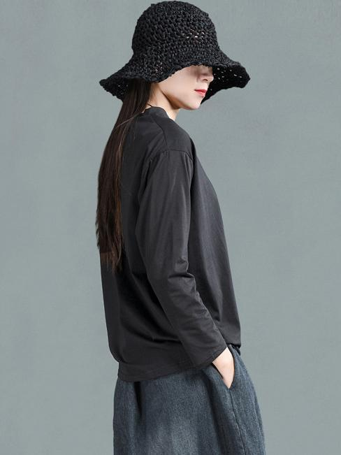 Ramie Cotton Solid Simple Shirt Top