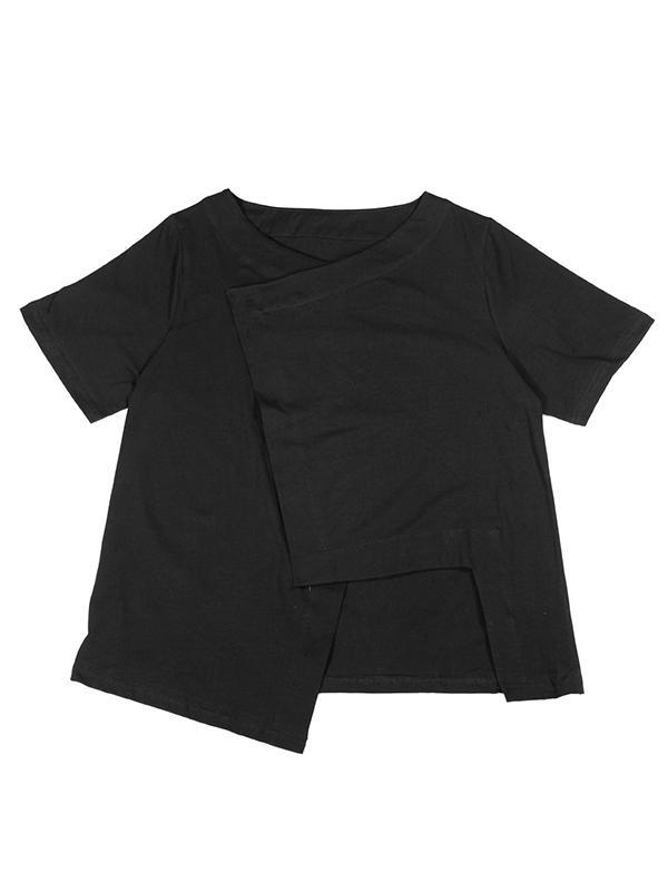 Simple Solid V-neck Asymmetric T-Shirt
